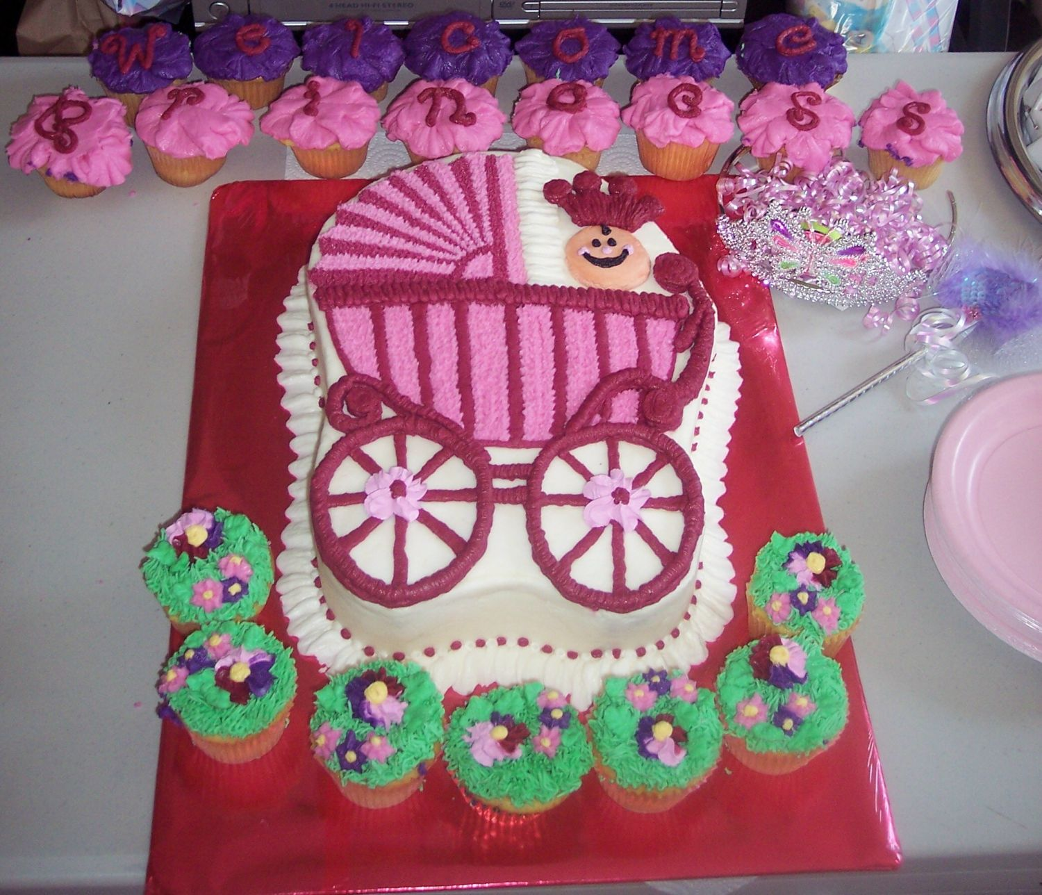 Carriage cake inspired by one done from a pan HOWEVER I didn't have the pan so I hand carved the caked and used a toothpick to draw all the lines. Everything is Buttercream Dream.