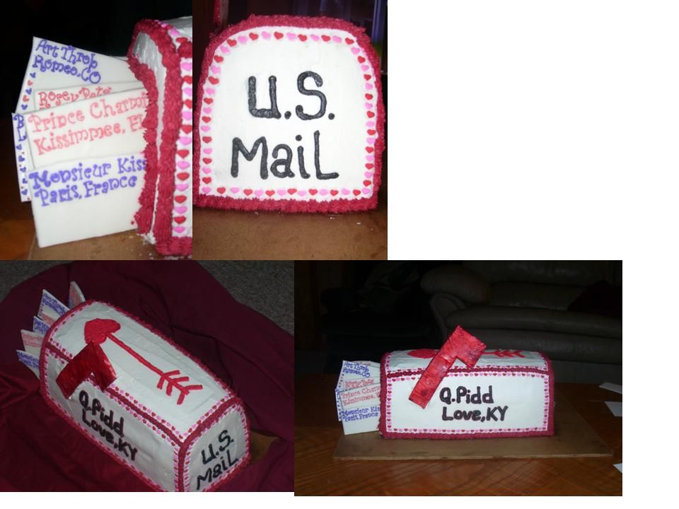 I got the wonderful idea to make a mailbox cake and ran with it! I watch too much Ace of Cakes to do anything simple! This is my first carved cake, first contest cake and my first attempt with fondant, which did not work out very well. This is  a...