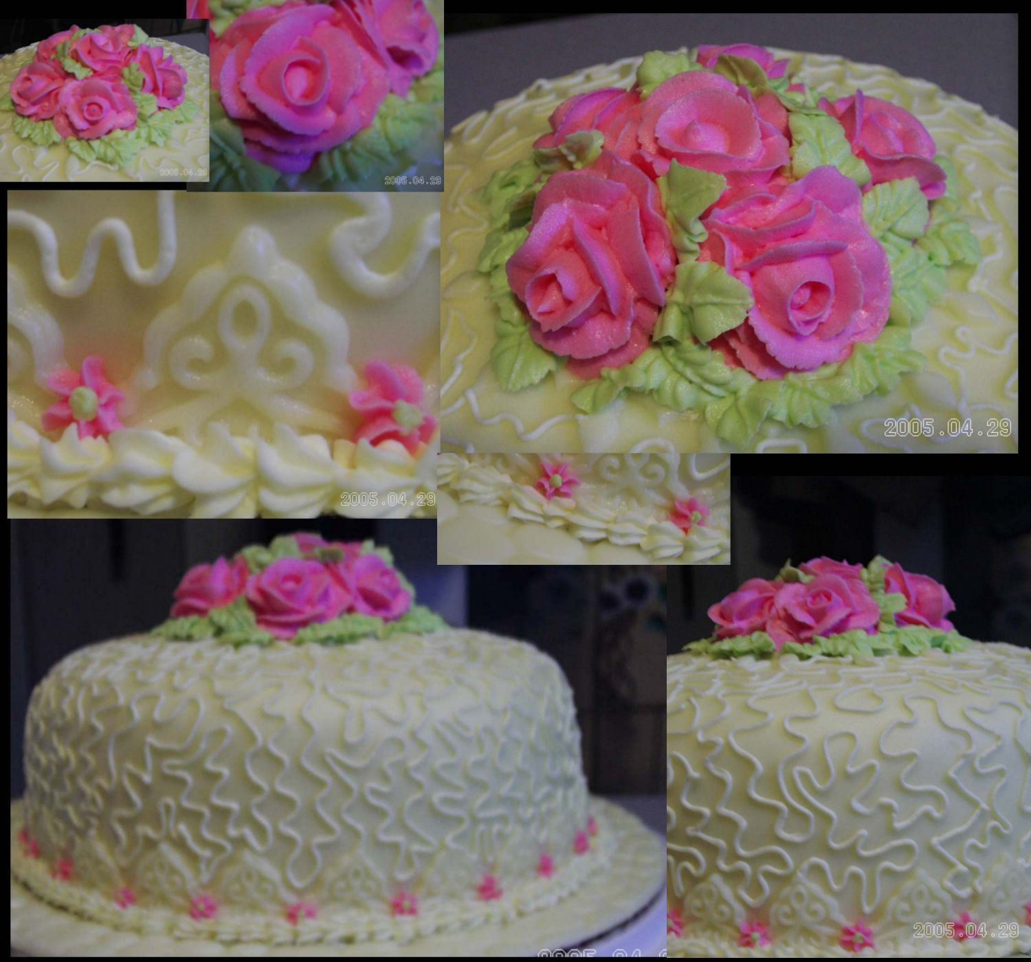 This cake was made for a customer who was attending a Valentine Tea Party. It is all homemade. A fluffy white cake, lemon filled with pale yellow buttercream icing and matching fondant. Lace fondant cutouts, buttercream roses and leaves and a shell...