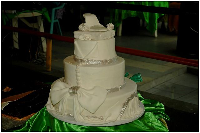 I was proud to make this cake for my brother's wedding. It was inspired by another cake design and tailored to resemble my sister-in-law's wedding attire.