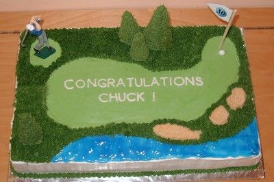 Grass tip used for the rough, tinted piping gel for the water, and crushed nilla wafers over tan icing for the sand traps.  Cake size was 1/2 sheet (12x18).