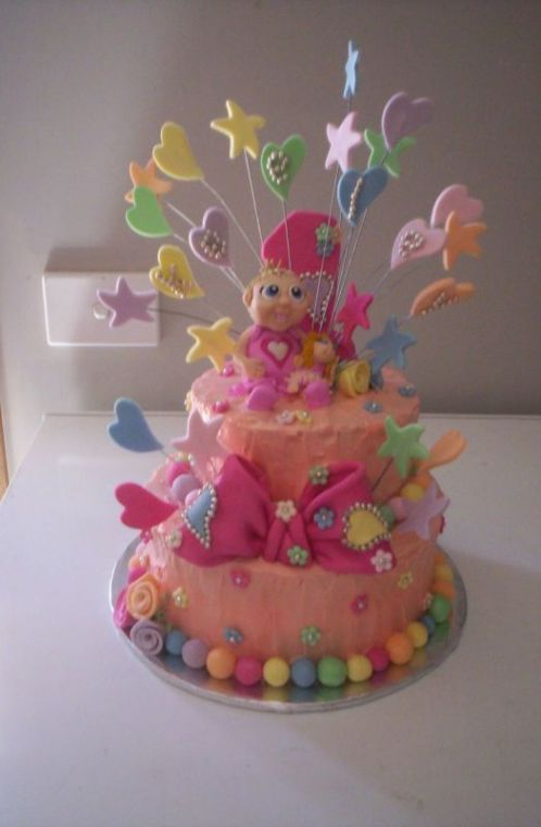 Awesome Ideas For Twin Girls First Birthday Cake Cakecentral Com Personalised Birthday Cards Veneteletsinfo