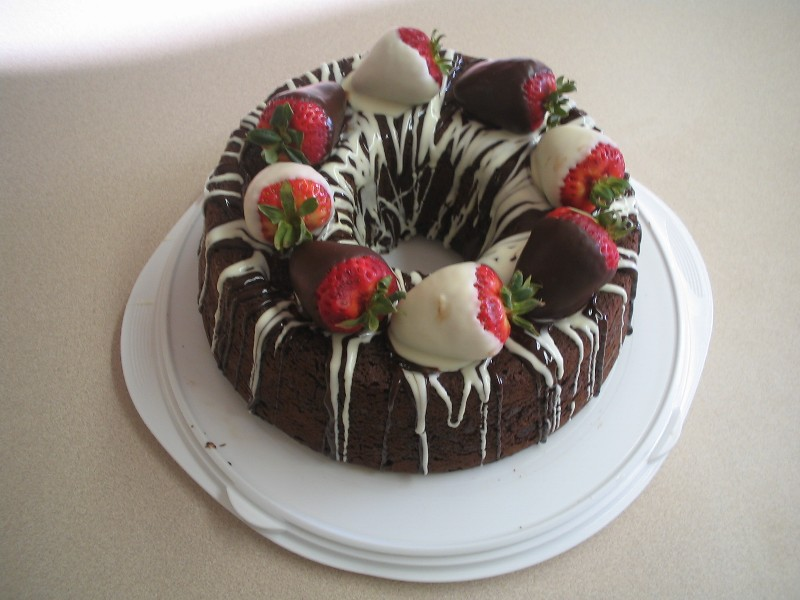 Searching For Bundt Cake Decorated W Chocolate Strawberries