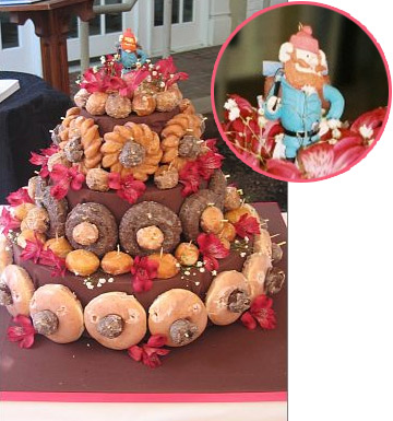 Doughnuts Stacked And Shaped Like A 3 Tiered Cake