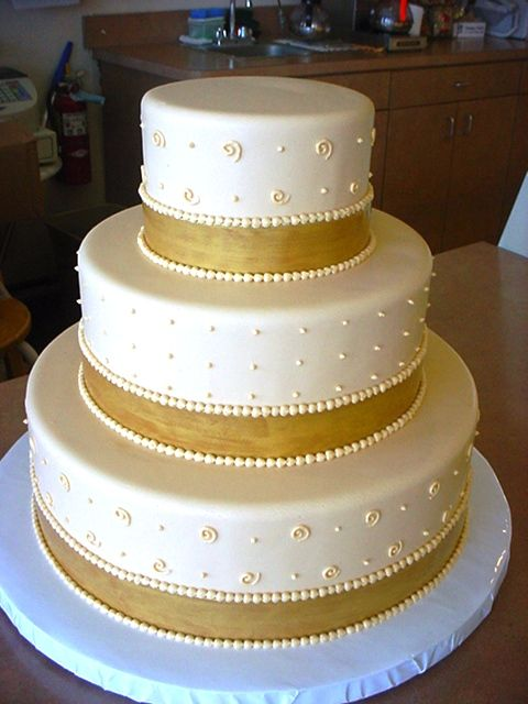 wedding cake with gold ribbon piping buttercream dots real ribbons cakecentral 26902