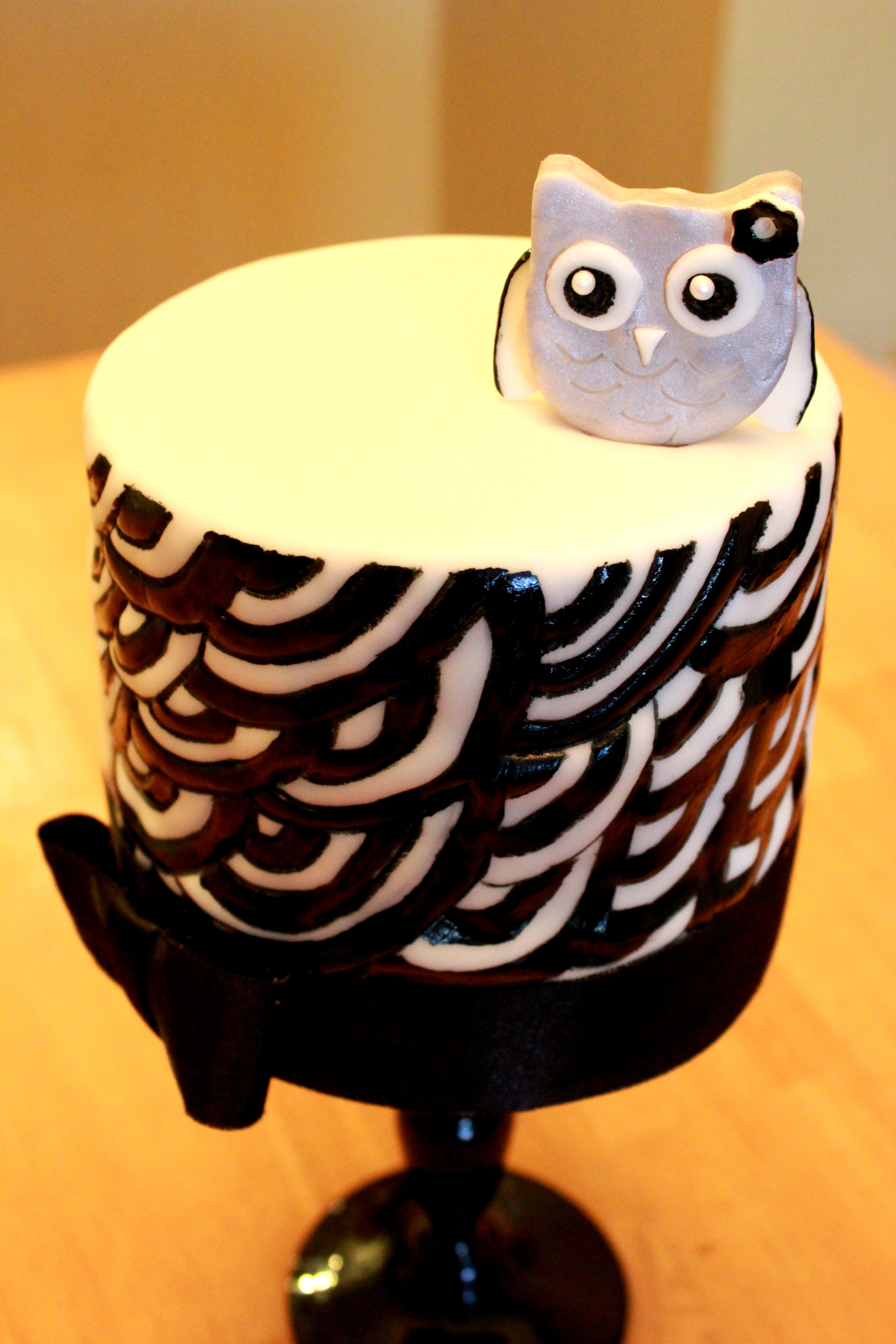 Chocolate Cake with French Vanilla Buttercreme.  Hand Painted Scroll design