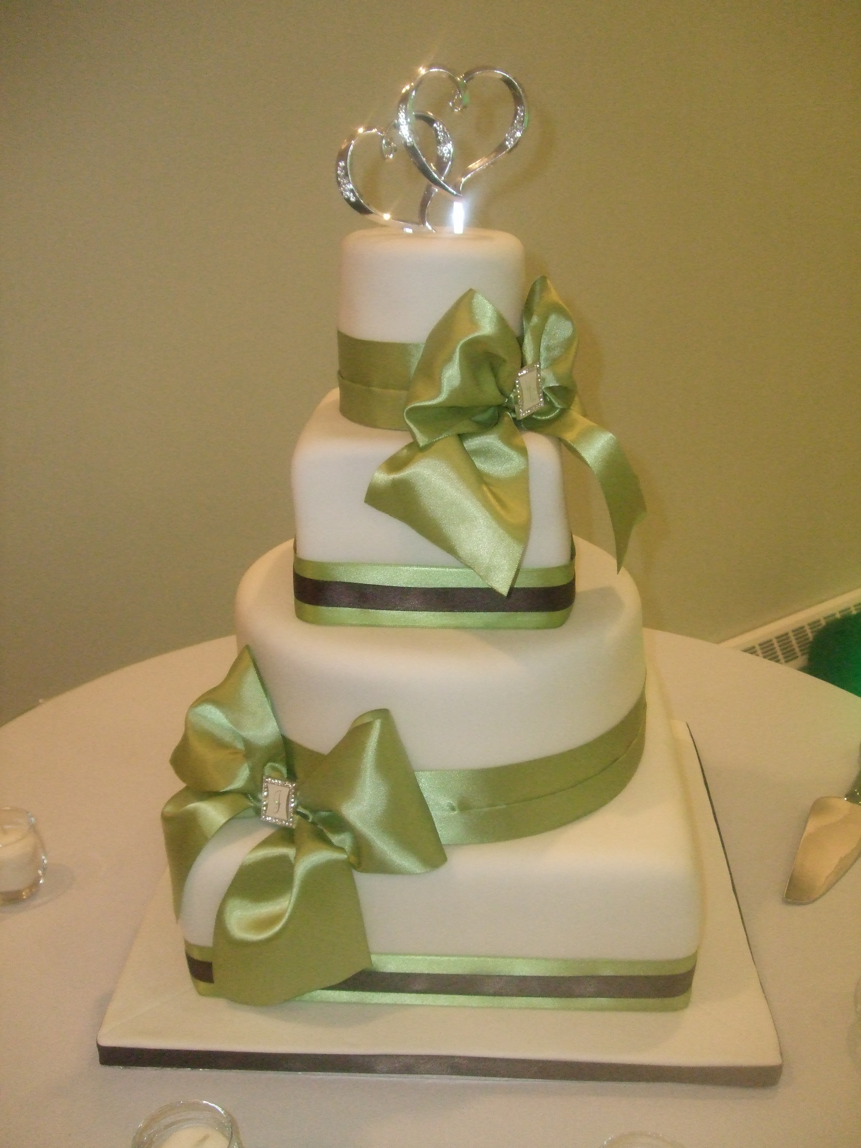 Fondant covered with real ribbon