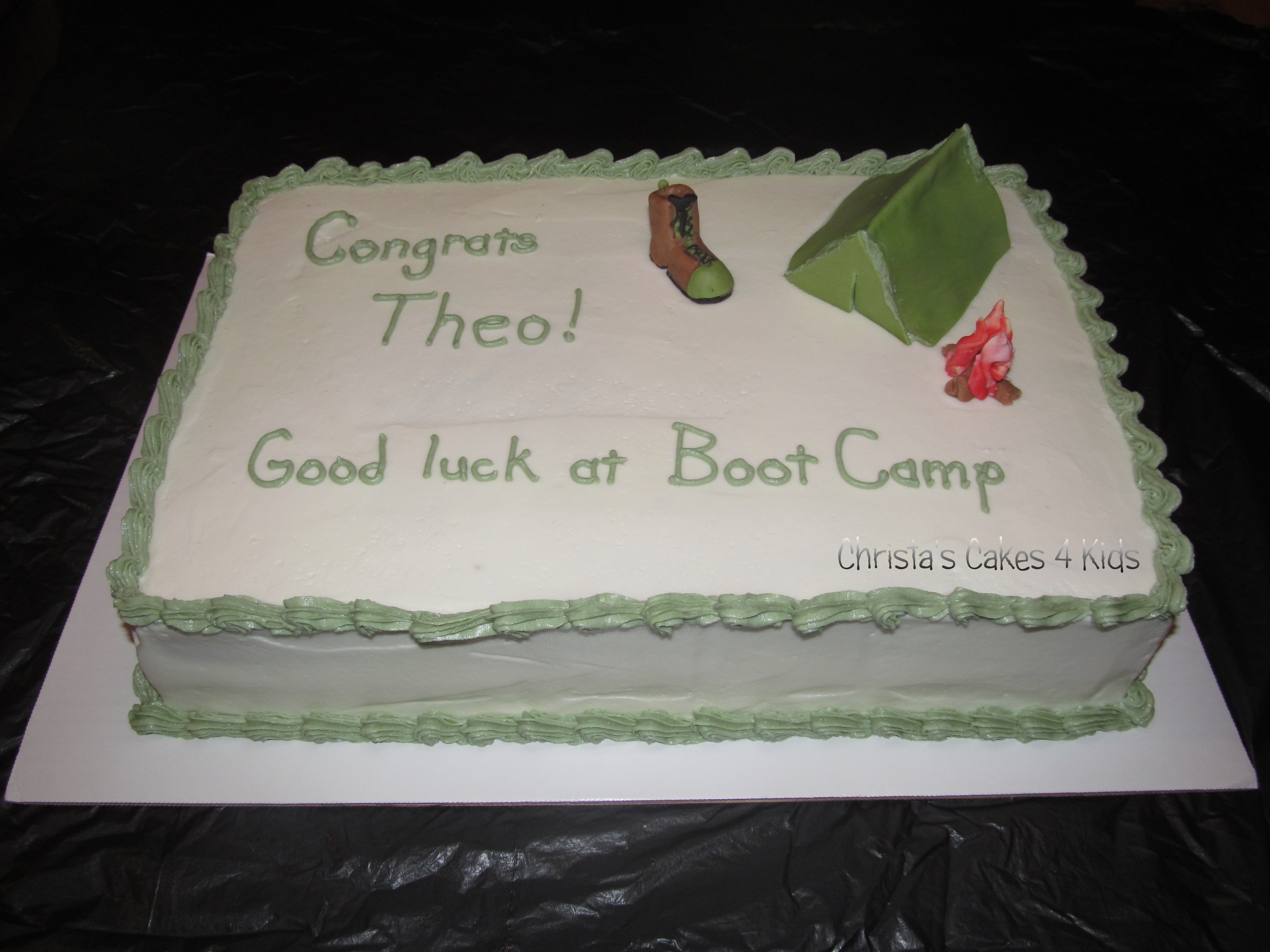 "My friend is sending her son to boot camp and she wanted a simple cake that was not too fancy so as to not add pressure to him but help celebrate his send off.  (The fancy cake will be when he completes it) So we went with a cheesy ""Boot"" and ""Camp"" design to keep it fun.  Wish I would have made the marble camo cake inside though but I didn't think of it until too late. MMF for the accents."