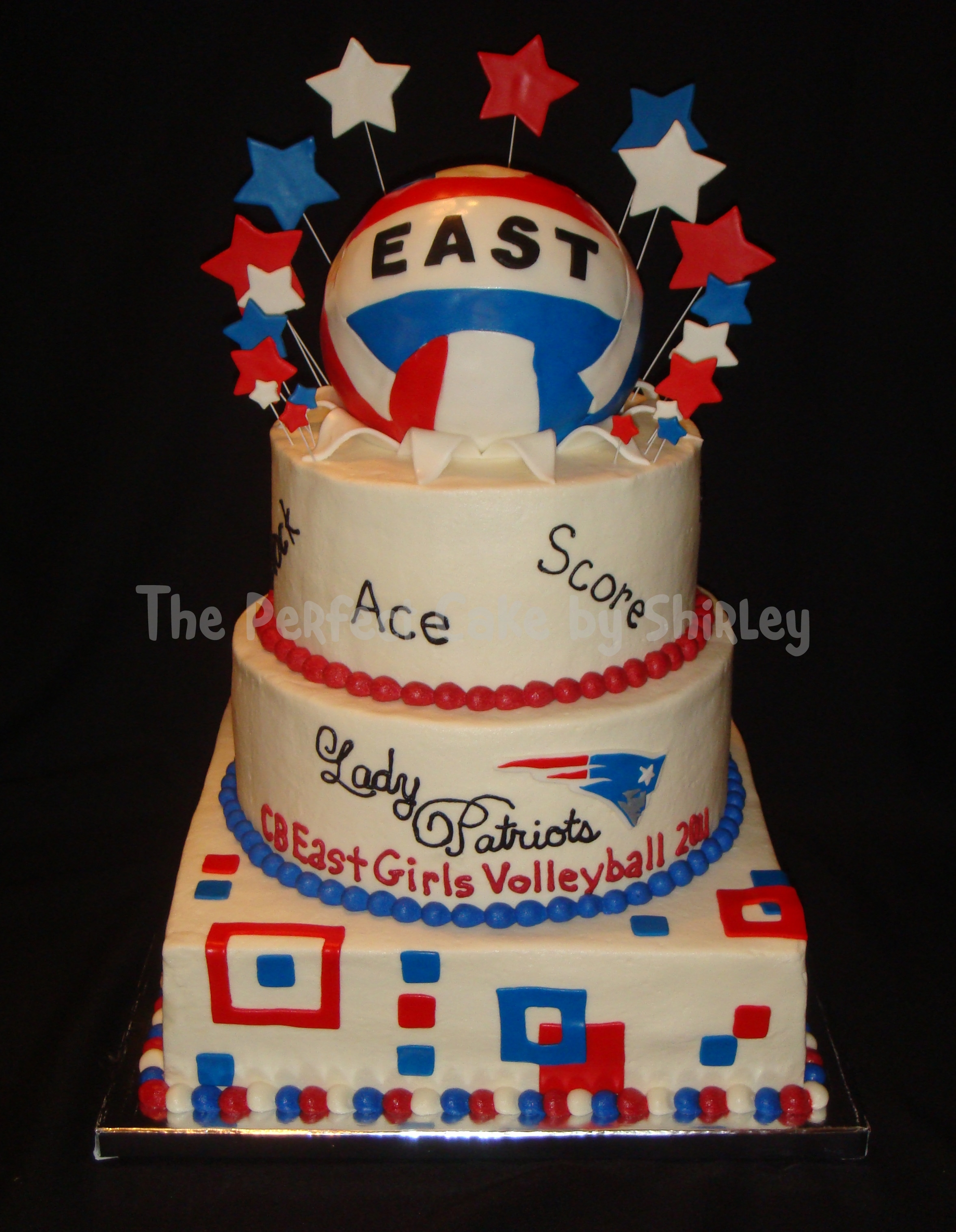 Cake for local high school girls' volleyball team banquet. Cake is iced in buttercream, volleyball is covered in fondant.