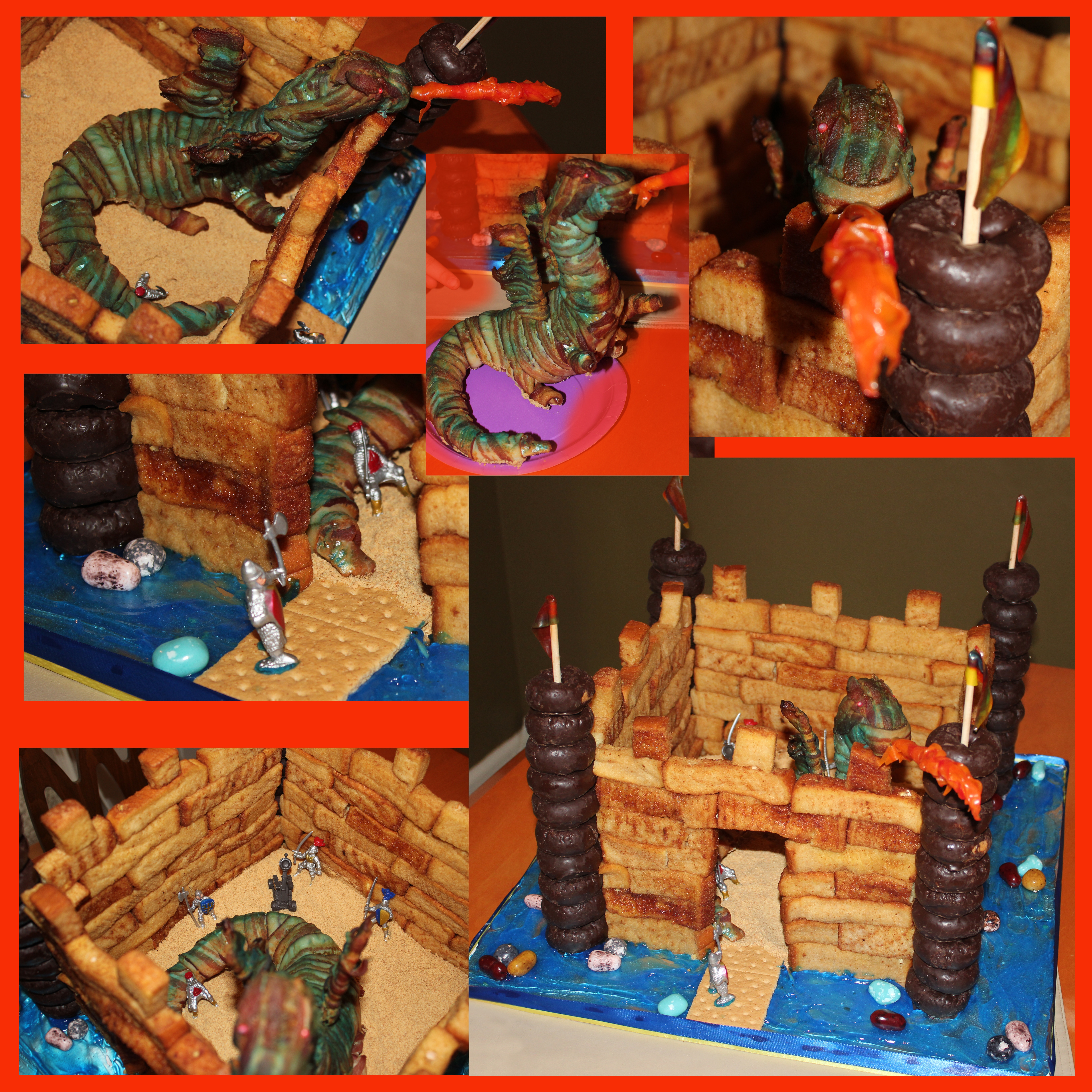 My son's cake request was to make a cake out of french toast sticks. So he got a castle made from french toast sticks and donuts. What's breakfast without bacon! So I made a fire breathing dragon out of bacon. Yes, bacon! It was kind of fun thinking...
