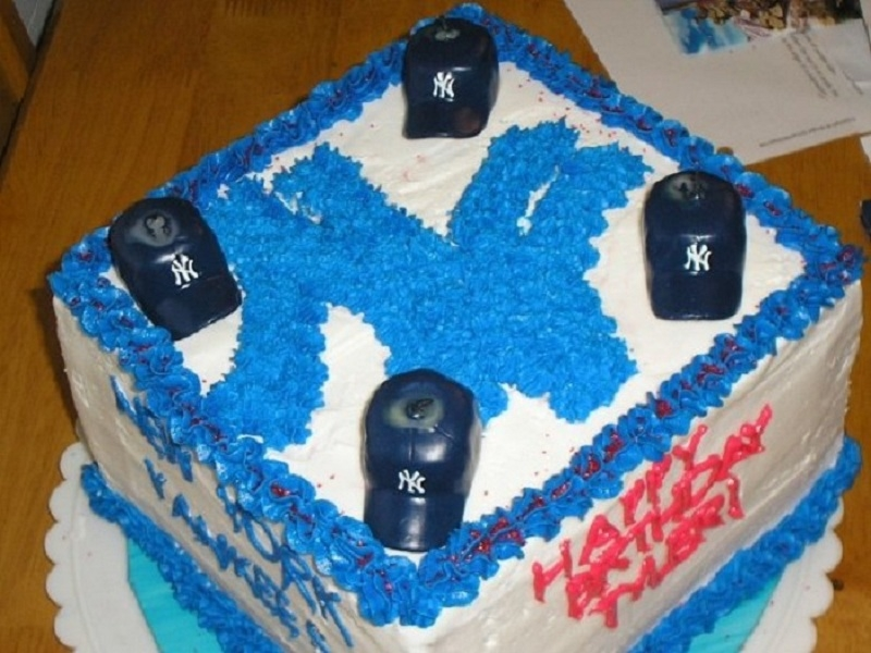 My first attempt at making my son a NY Yankees birthday cake.