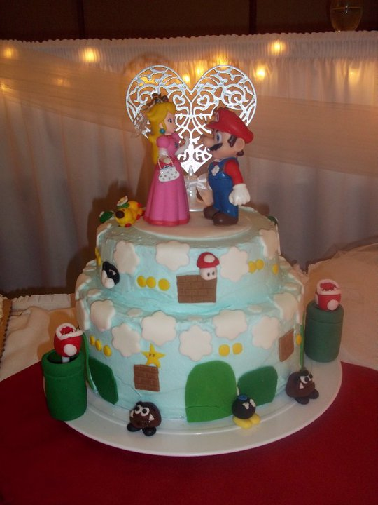 Mario Themed Wedding cake I made formy husbands cousin.