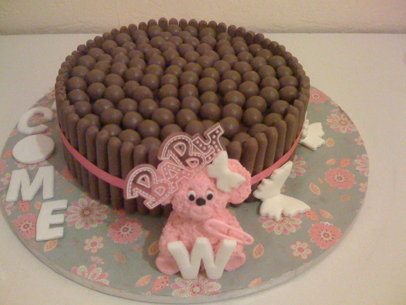double chocolate chip fudge cake with chocolate fingers and malteasers on top!!