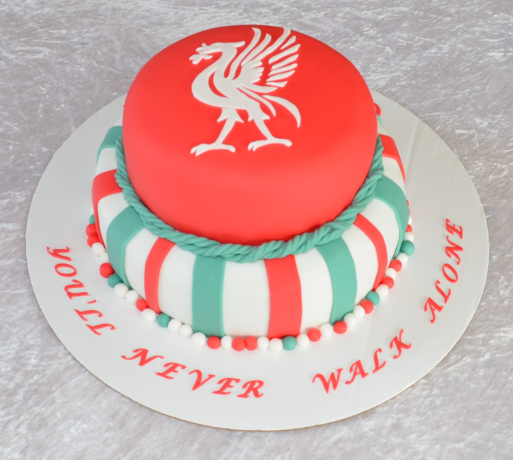 Chocolate cake with strawberry and pistacie filling. covered in fondant. The bird is cut out of fondant.