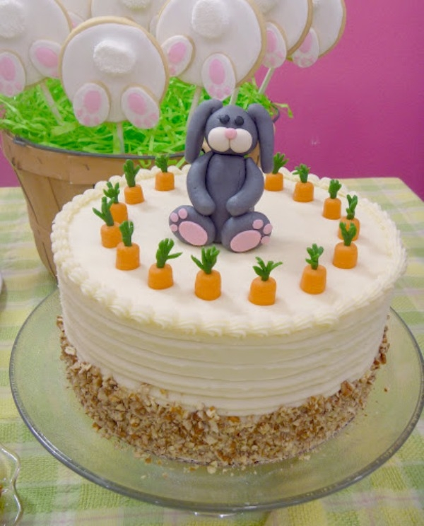 This is a carrot cake I made for our Easter dessert. The bunny and carrot tops are made from marzipan. I also made the Bunny Butt cookies in the background.