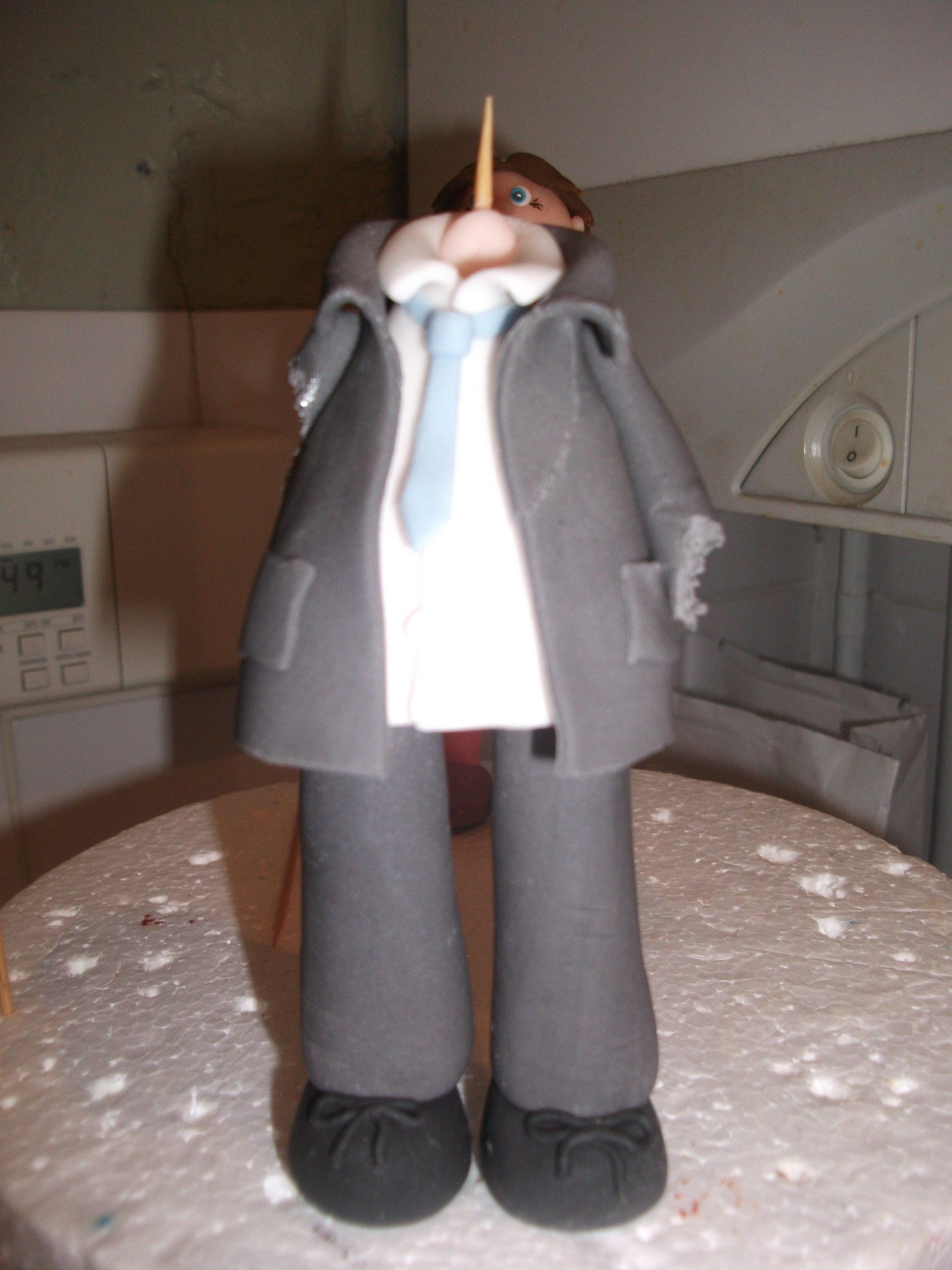 I was making this figure for my latest cake only I didnt hide it well enough from my little grandson who has a taste for sugar!! I went upstairs to the spare bedroom to find him eating the arms, aaarrghhhgh!! Couldnt stay mad for long though when he...