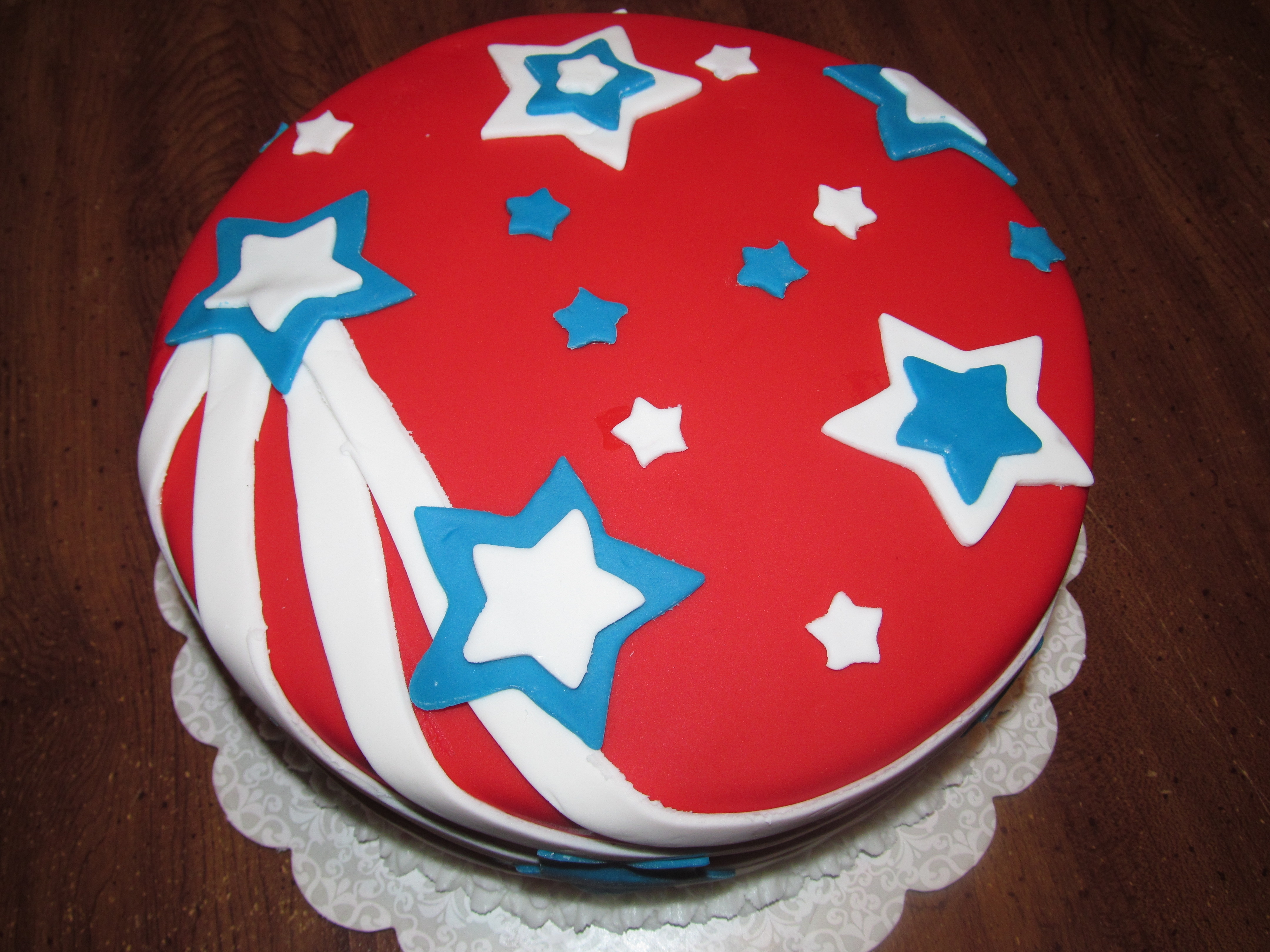 Red, white and blue 4th of July birthday cake