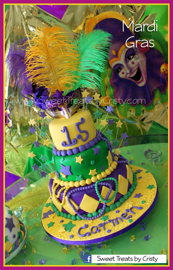 Mardi Gras cake for a quinces. (15th Birthday)