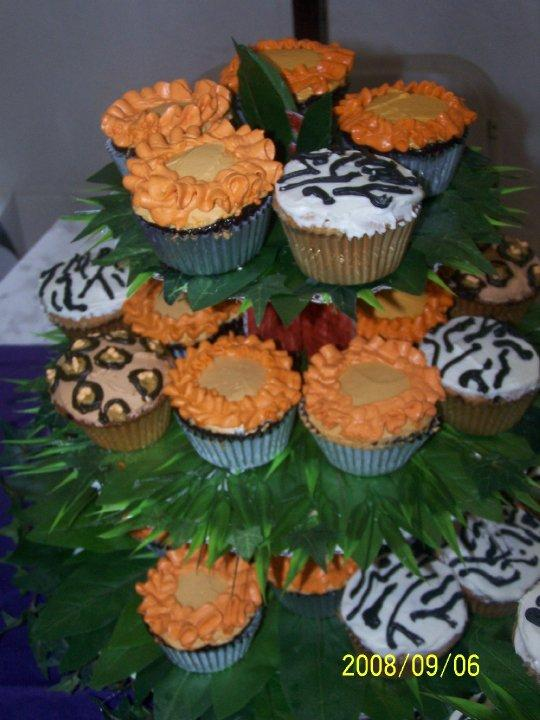 These are part of a 100 cupcake display for a jungle themed birthday party.  Italian buttercream on chocolate and vanilla cakes.