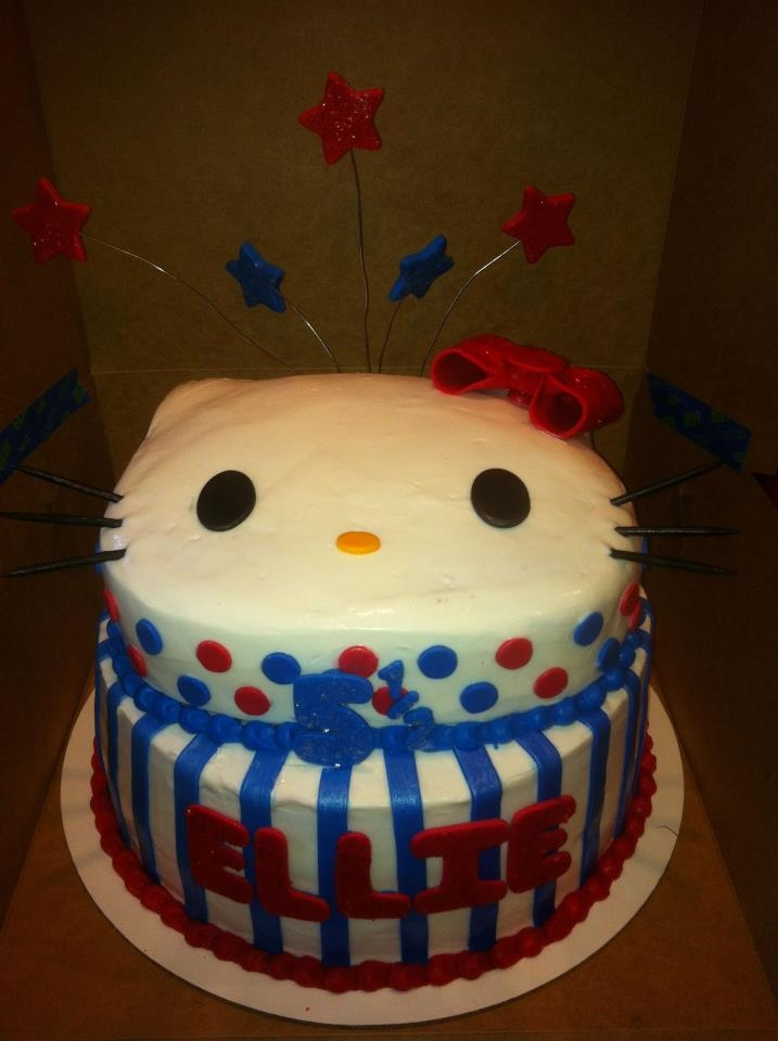 A half birthday cake for a little girl whose half birthday fell on 4th of July
