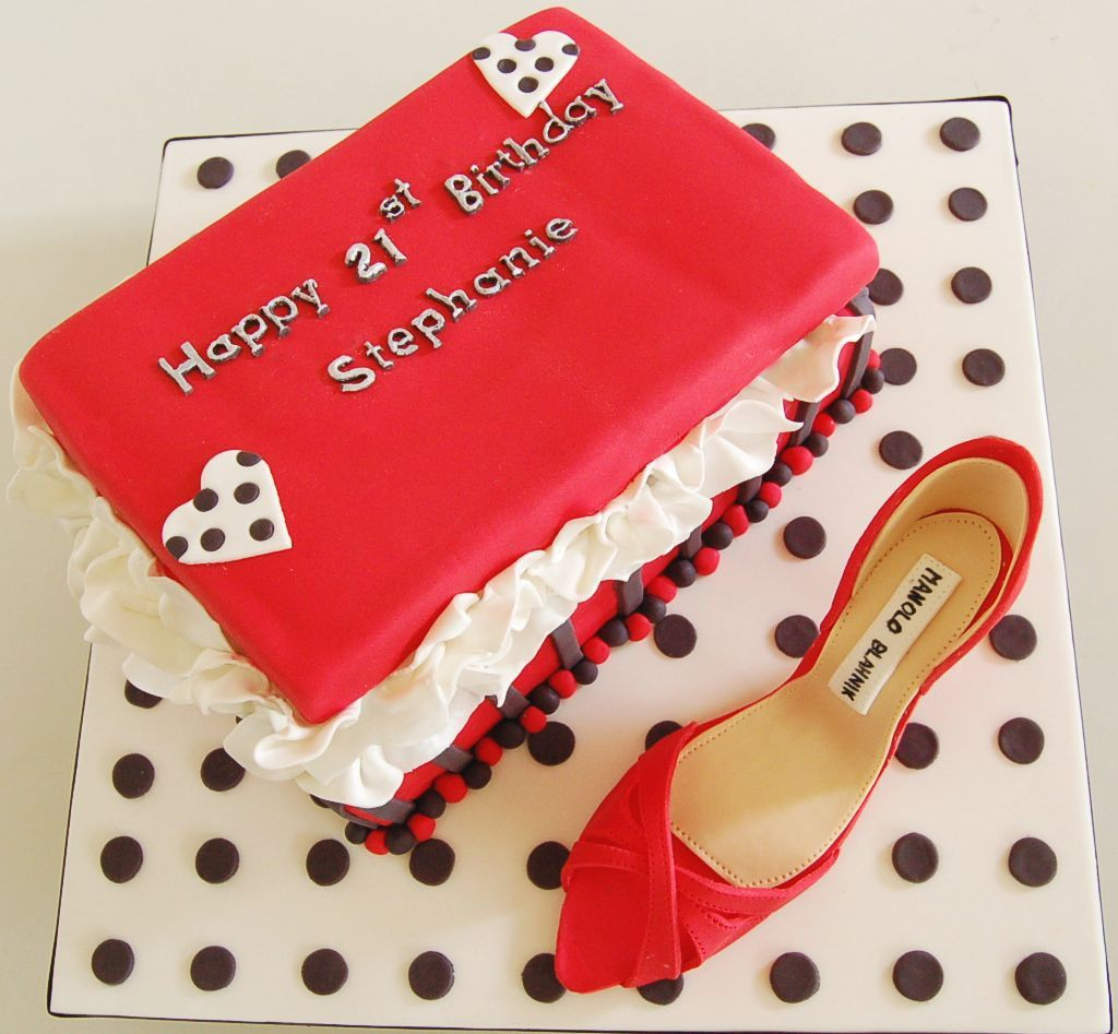 The shoe box cake made from dark choc mud cake and using only black and red colour as request. The shoe made from fondant.